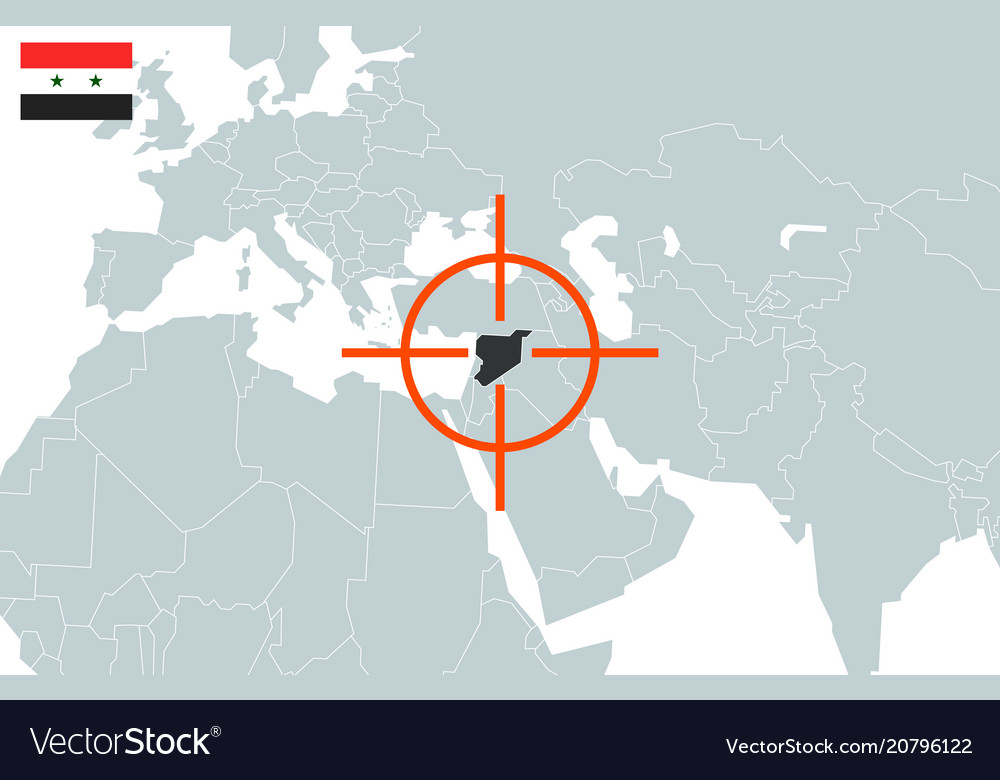 Syria on world map in perspective Royalty Free Vector Image