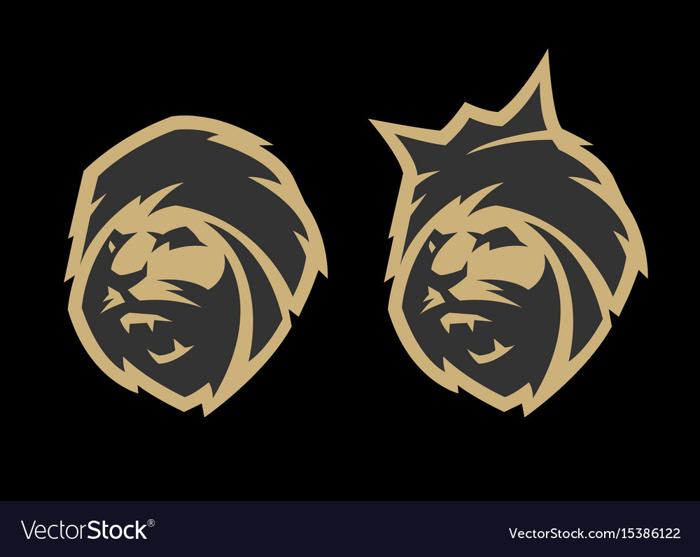 The head of a lion with a crown and without two