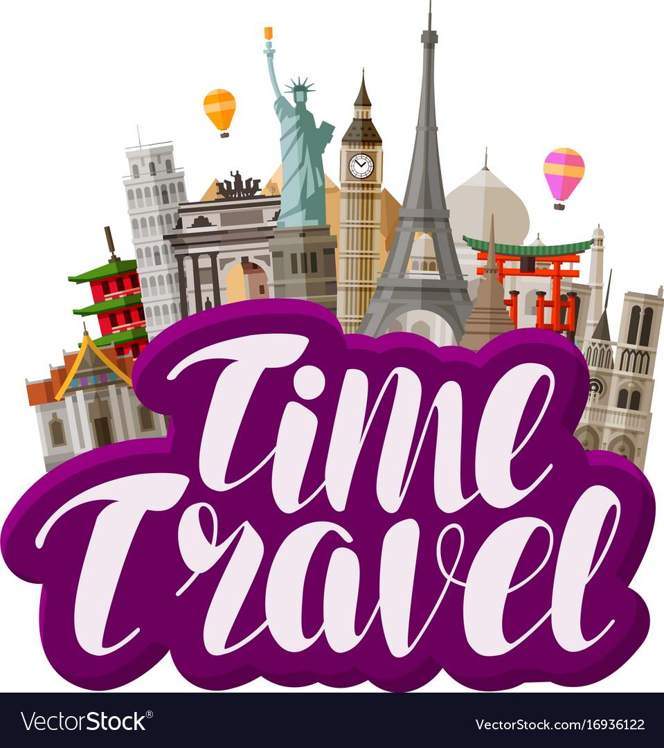 Travel journey concept famous world landmarks vector image