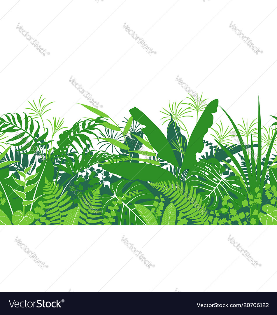 Tropical plants green seamless pattern