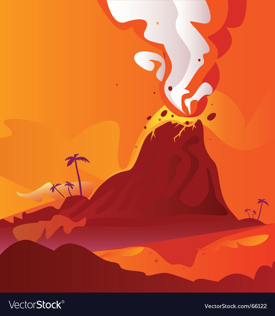 Volcano with burning lava vector image