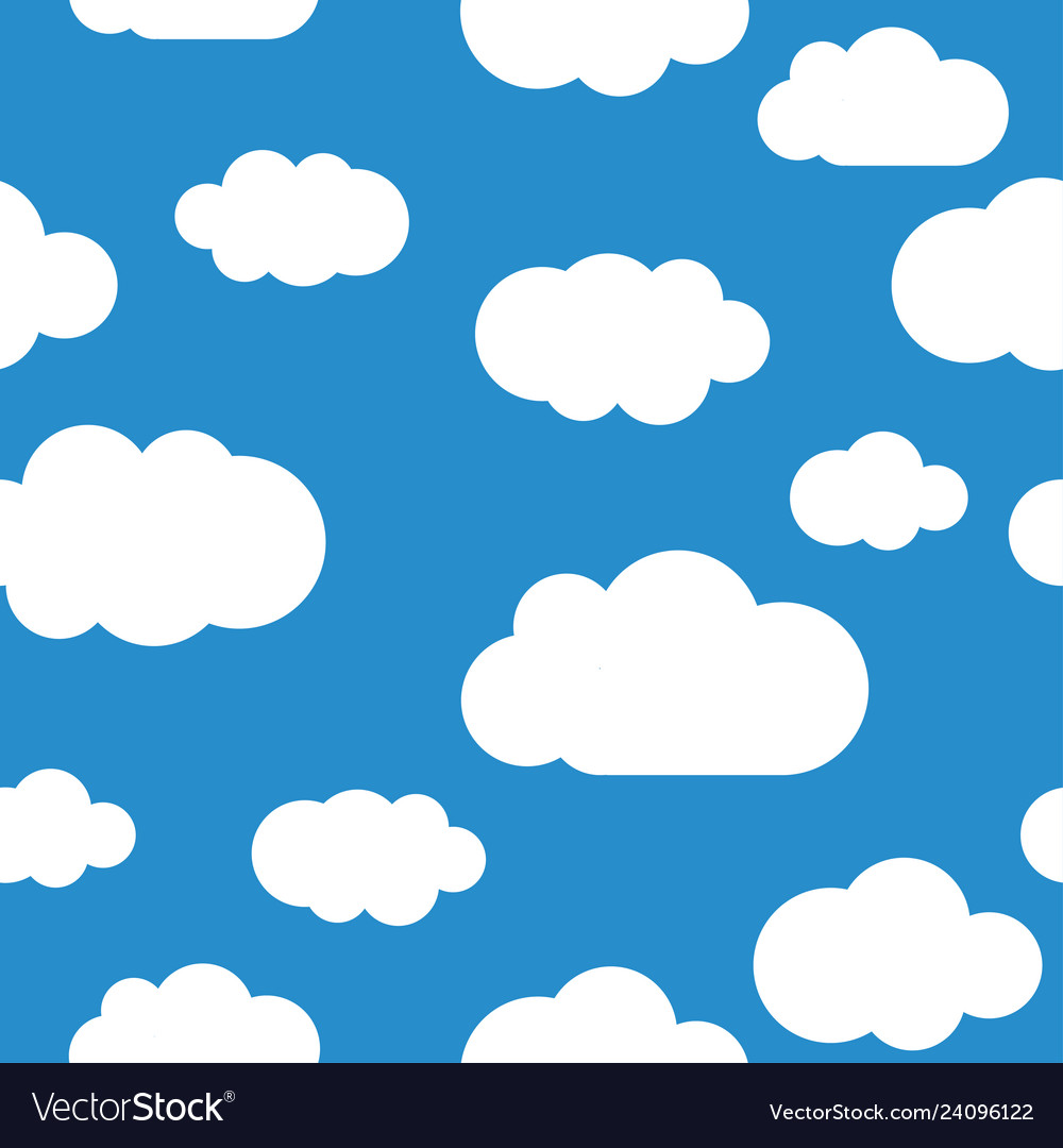 White clouds seamless pattern light blue sky