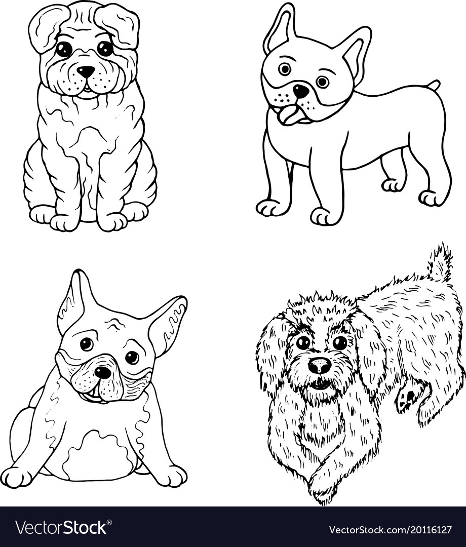 Cartoon dogs coloring page isolated set