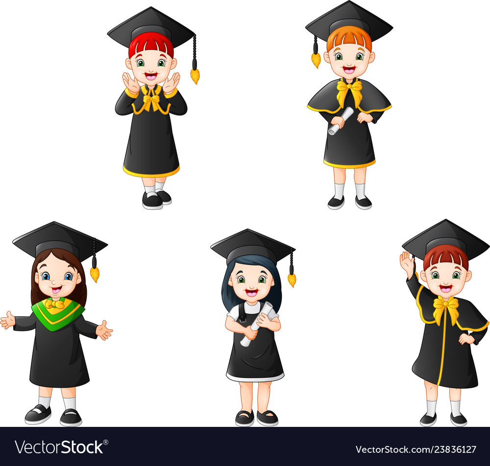 Cartoon kid in graduation costumes with different