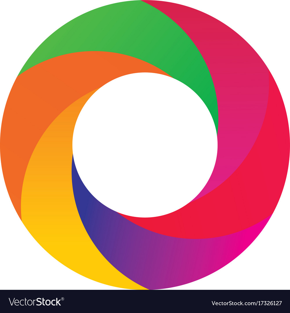 Circle Round 3d Colored Logo Royalty Free Vector Image