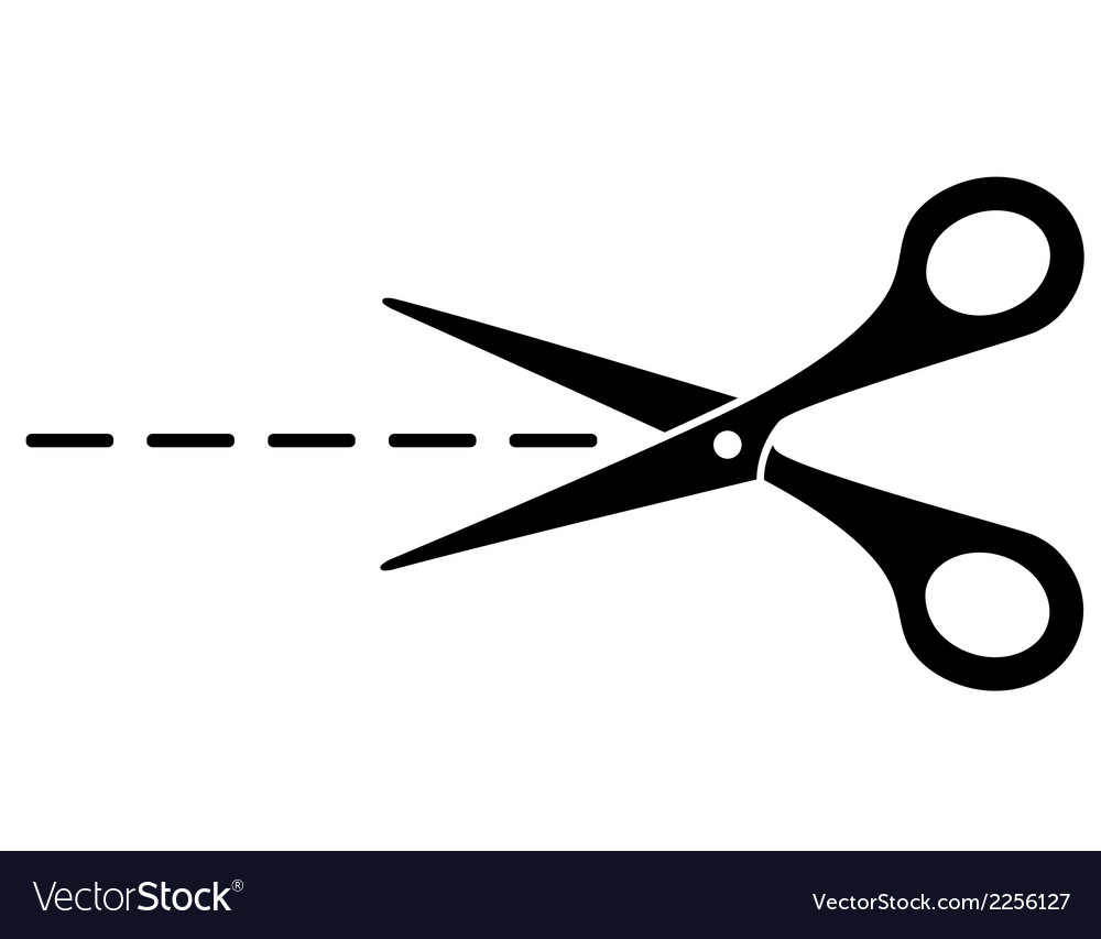 Cut lines and scissors vector image