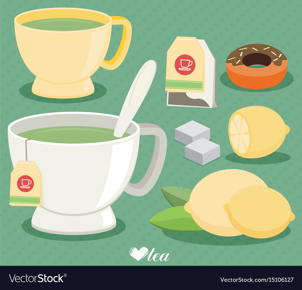Flat tea set cup of tea lemon sugar leaf