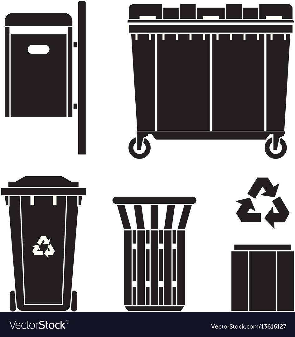 Garbage bins and trashcans icons