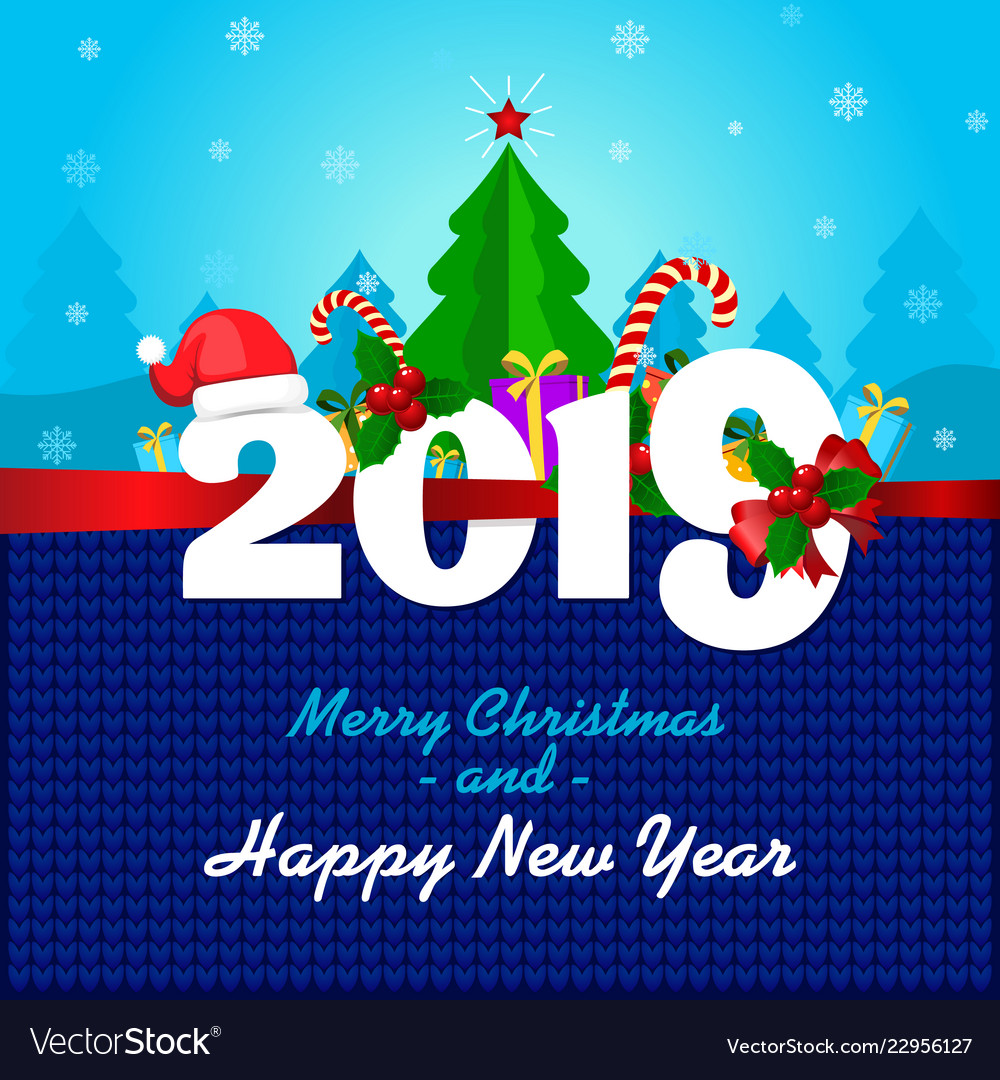 Greeting card with merry christmas and a happy