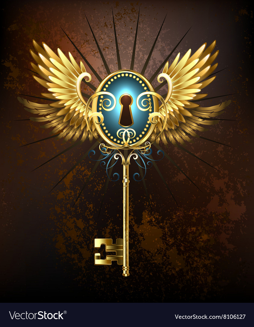 Key with Golden Wings vector image