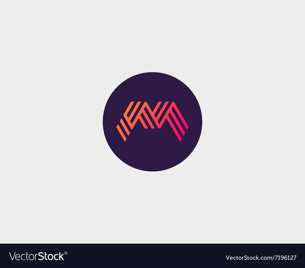 Letter M logo icon design Creative line vector image