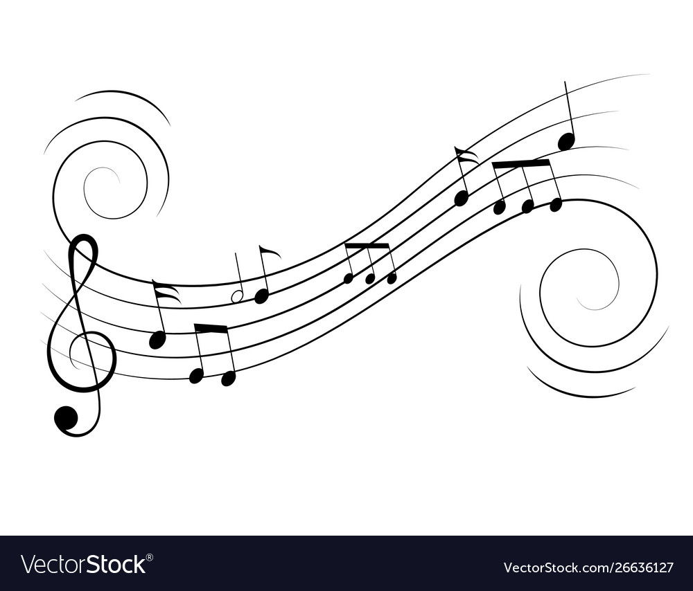 Music notes treble clef flow on music staff