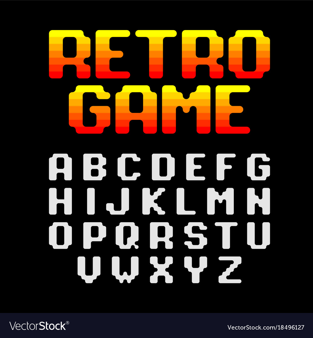 Retro Pixel Video Game Font Royalty Free Vector Image