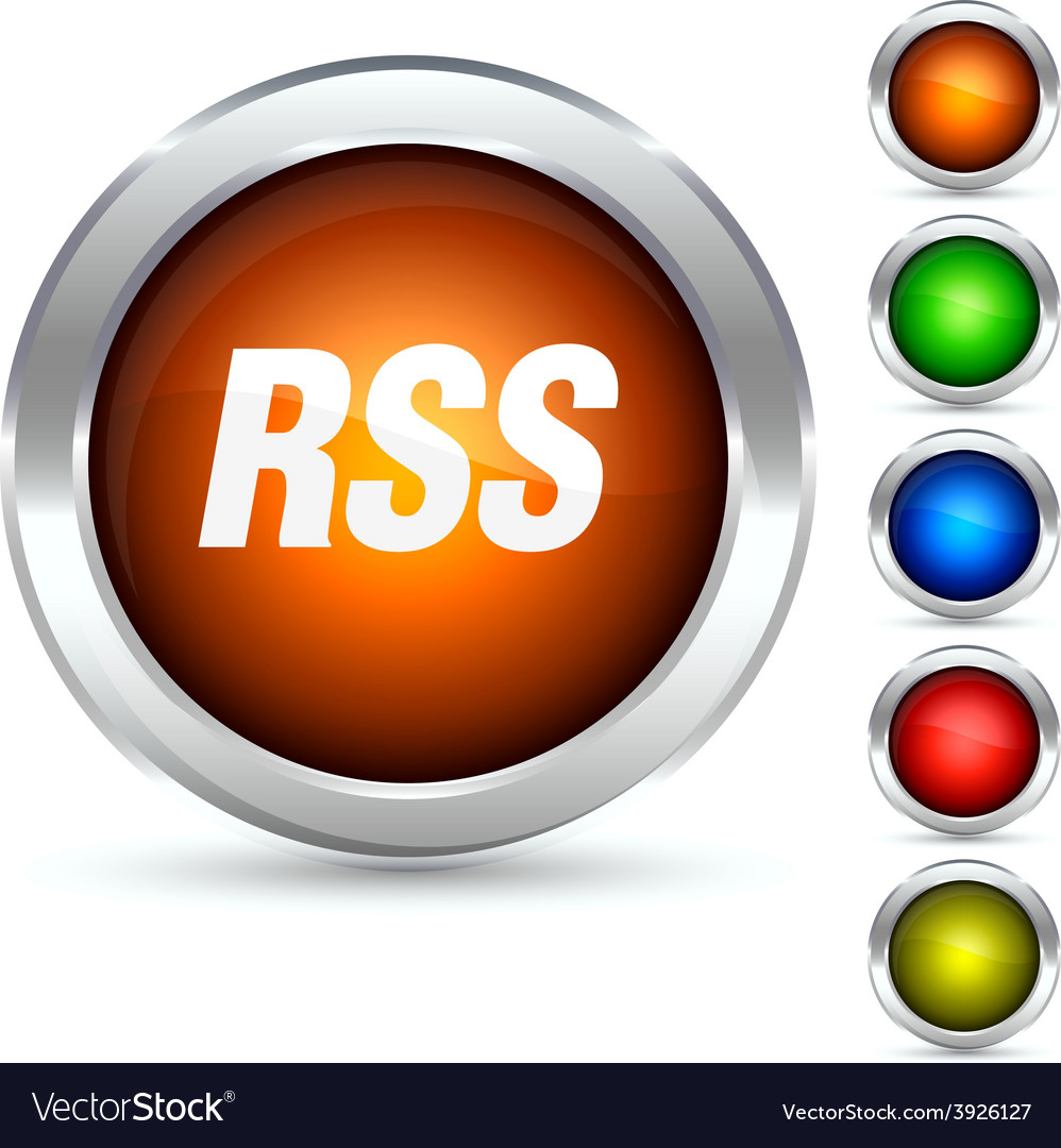Rss button vector image