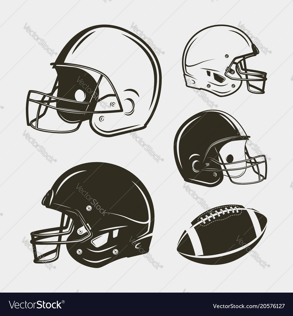 Set of american football equipment and gear
