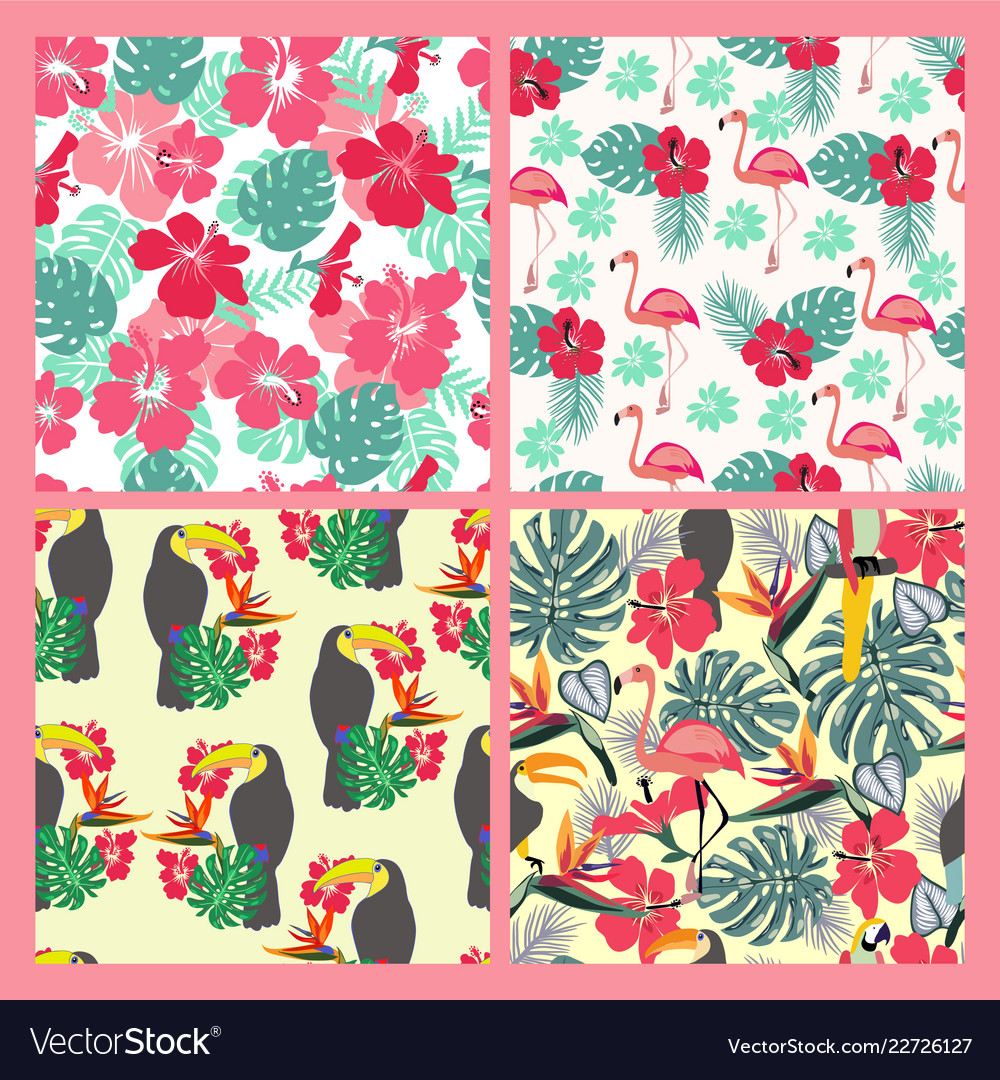 Set of backgrounds with monstera leaves tropical