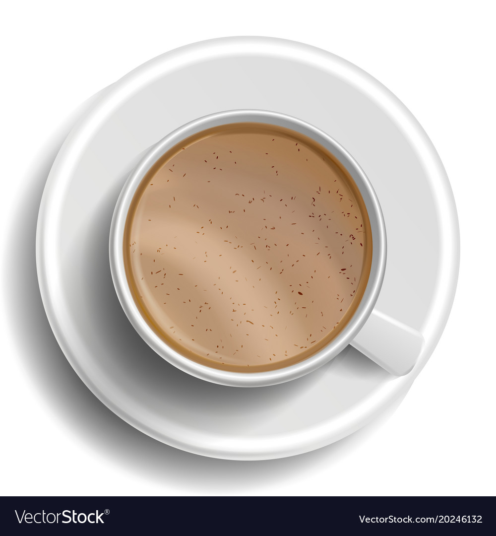 Coffee Cup Top View Hot Raf Milk Vector Image
