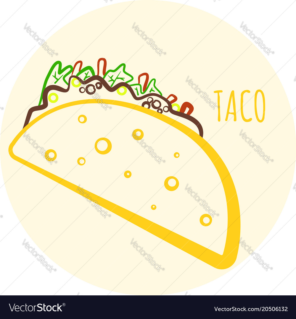 Colorful isolated outline taco symbol