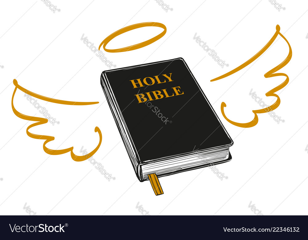 Holy bible with wings and halo gospel the