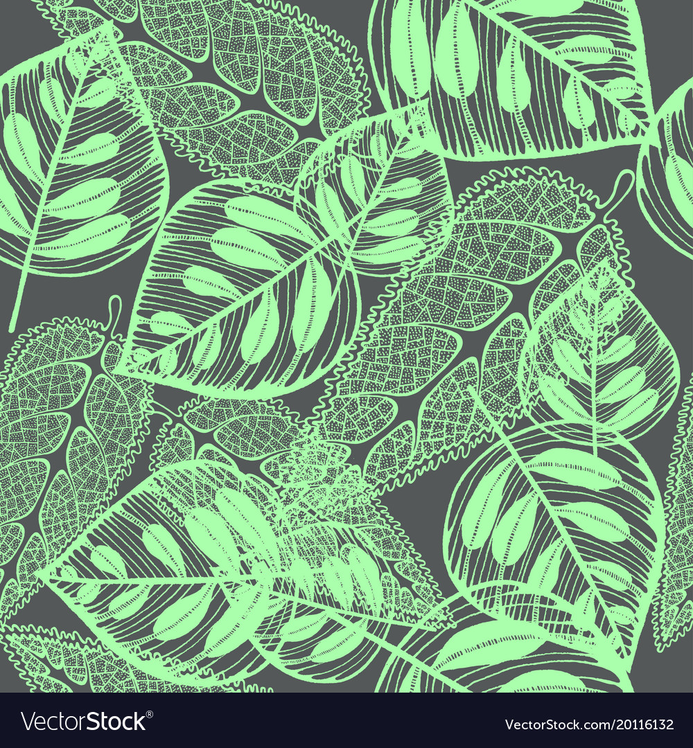 Imprint leaves - seamless pattern green leaves on