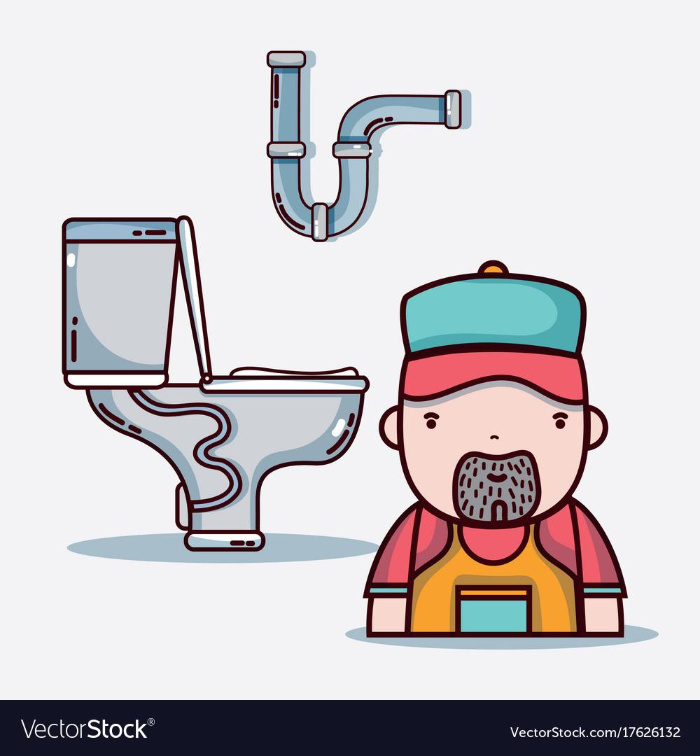 Plumber repair of tubes toilet design Royalty Free Vector