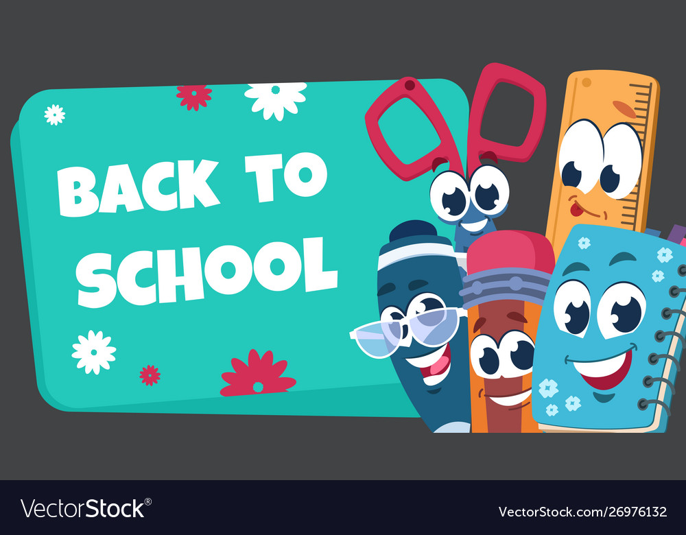School characters background educational poster vector