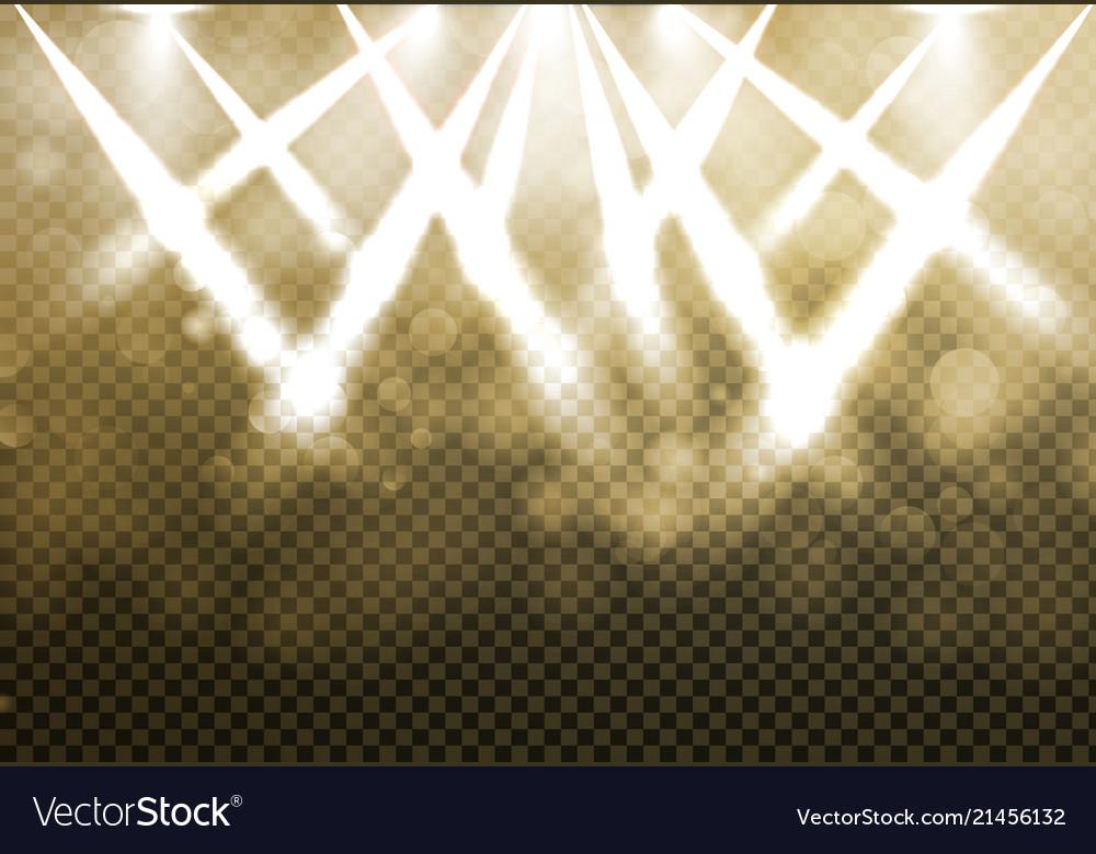 Shining gold disco spotlights with blured bokeh