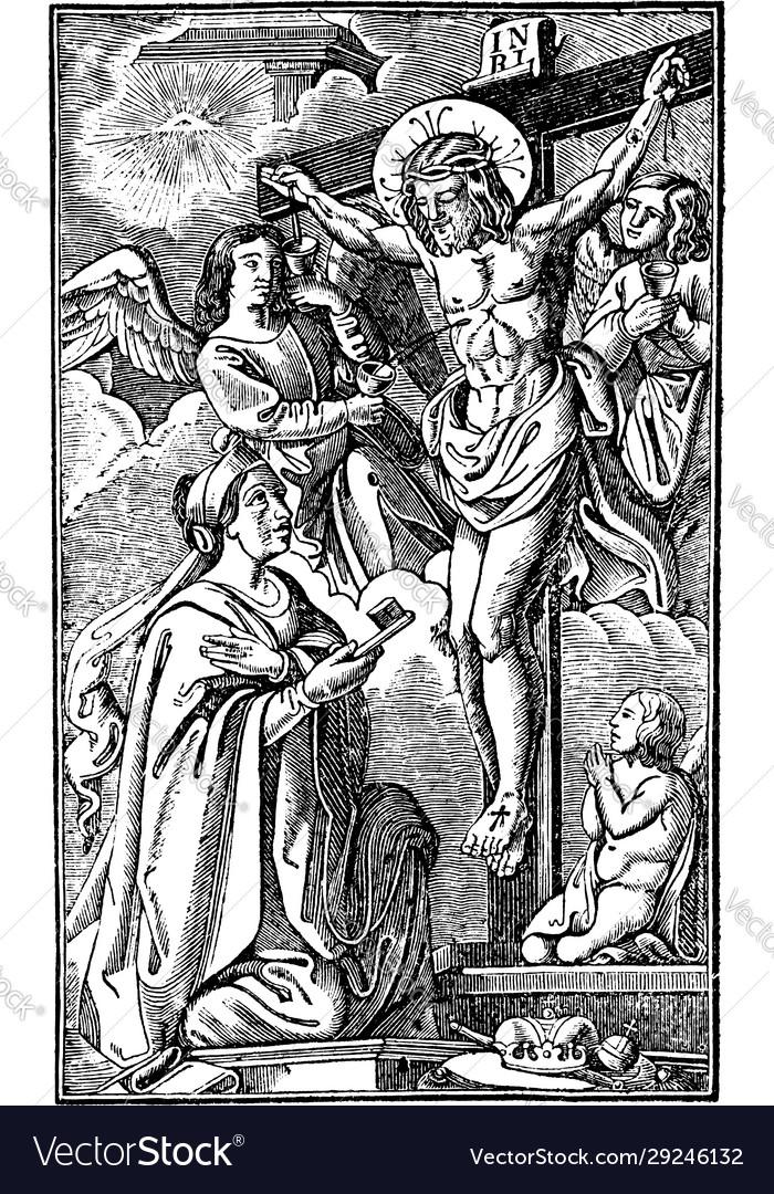 Vintage antique religious allegorical biblical