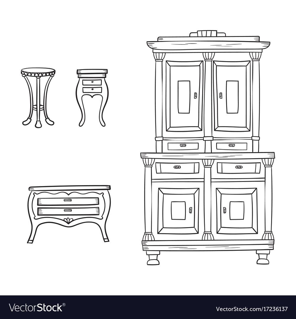 Antique furniture set - closet nightstand and
