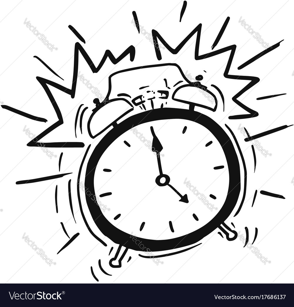 Cartoon Of The Classicl Alarm Clock Ringing Vector Image