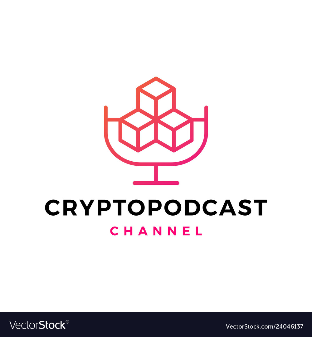 Crypto podcast logo icon for blockchain vector