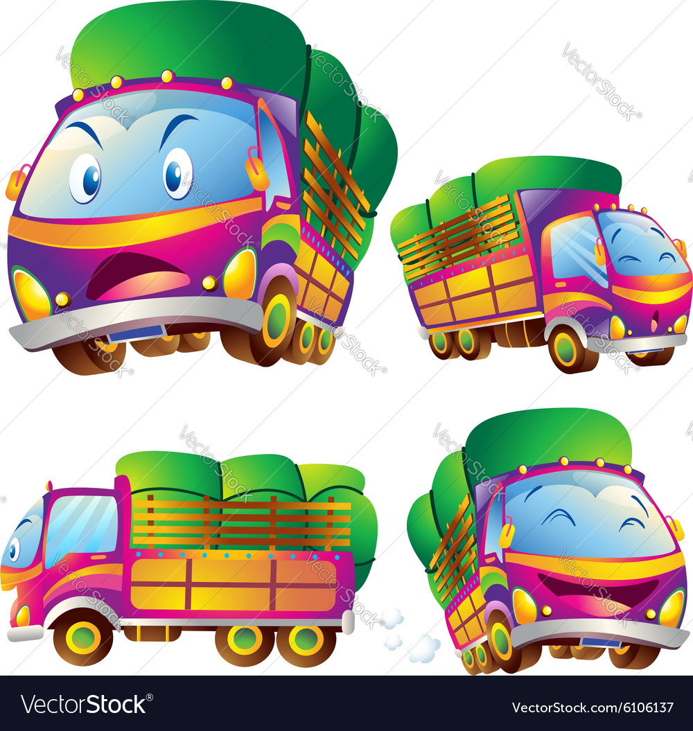 Cute truck cartoon actions
