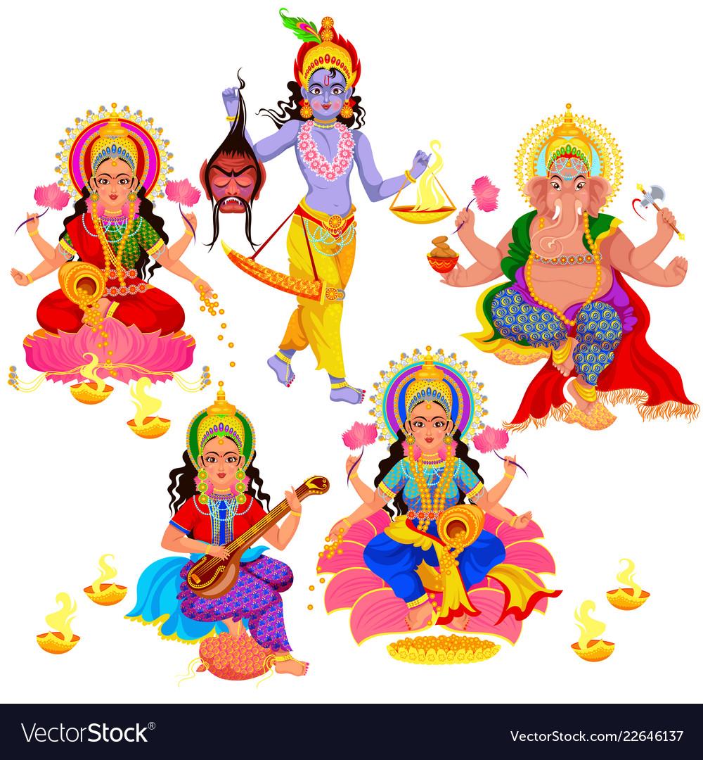 Diwali indian holiday gods and goddess set