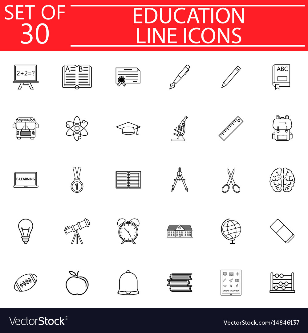 Education line icon set school sign collection vector image