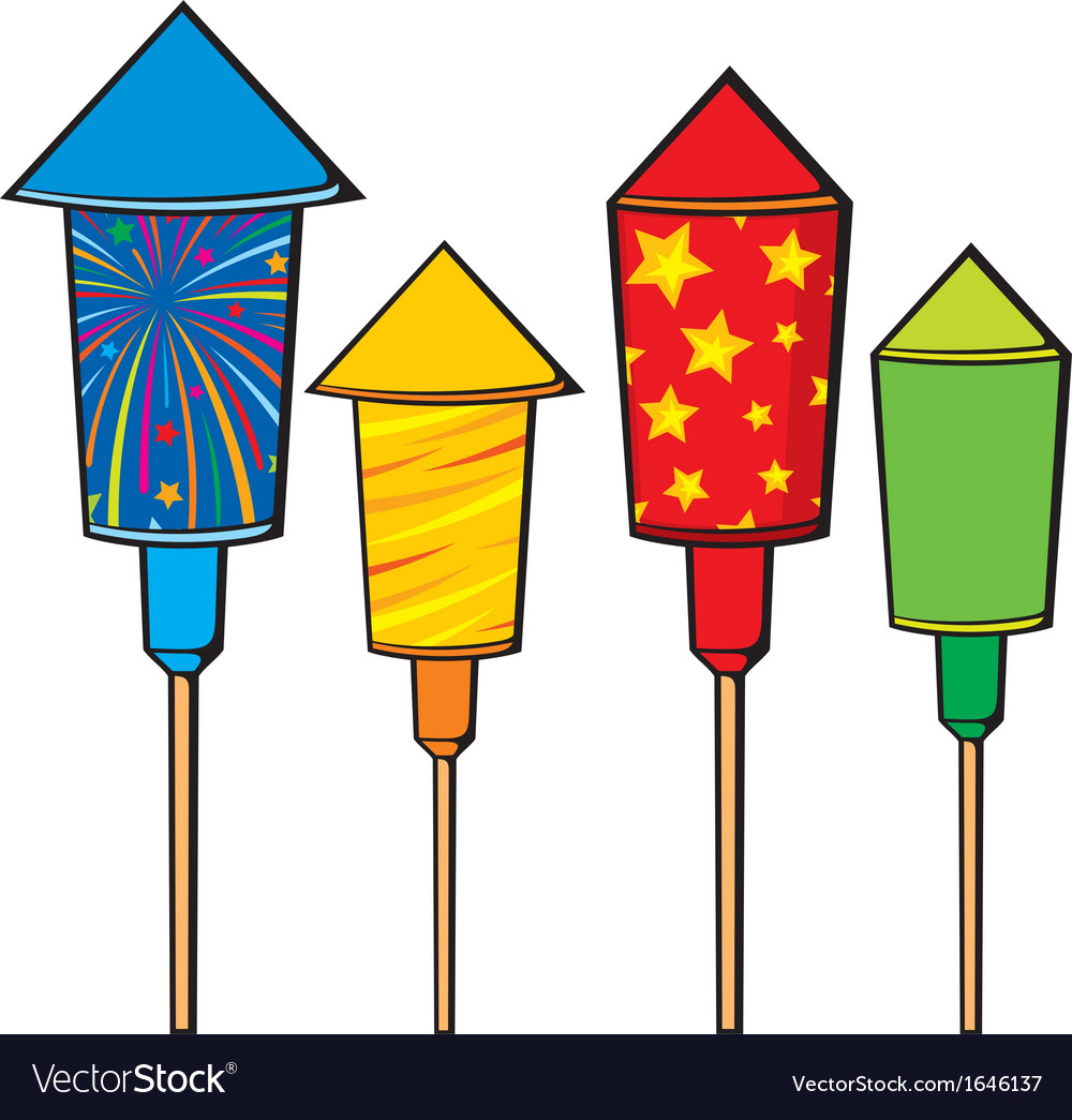 Firework rockets fire cracker vector image