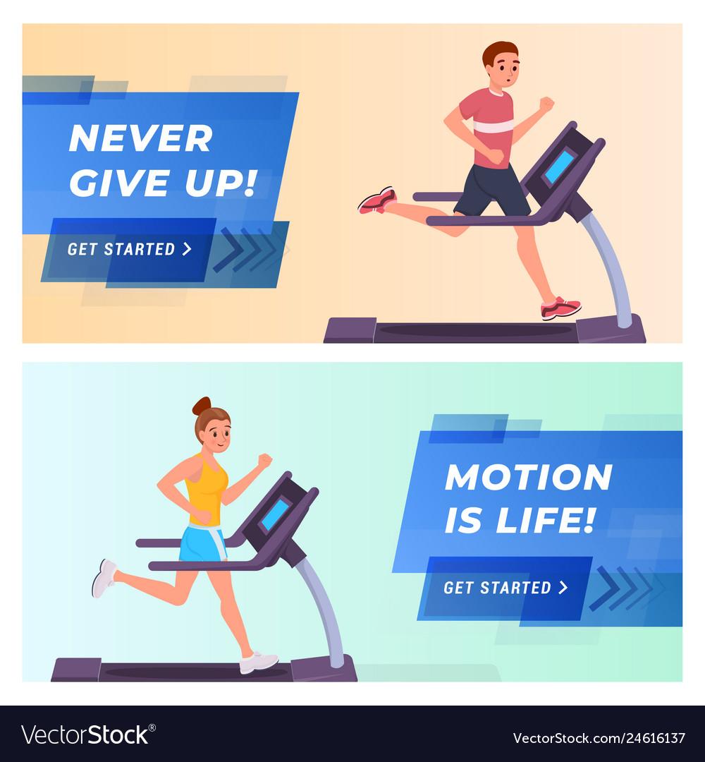 Fitness website landing page flat set