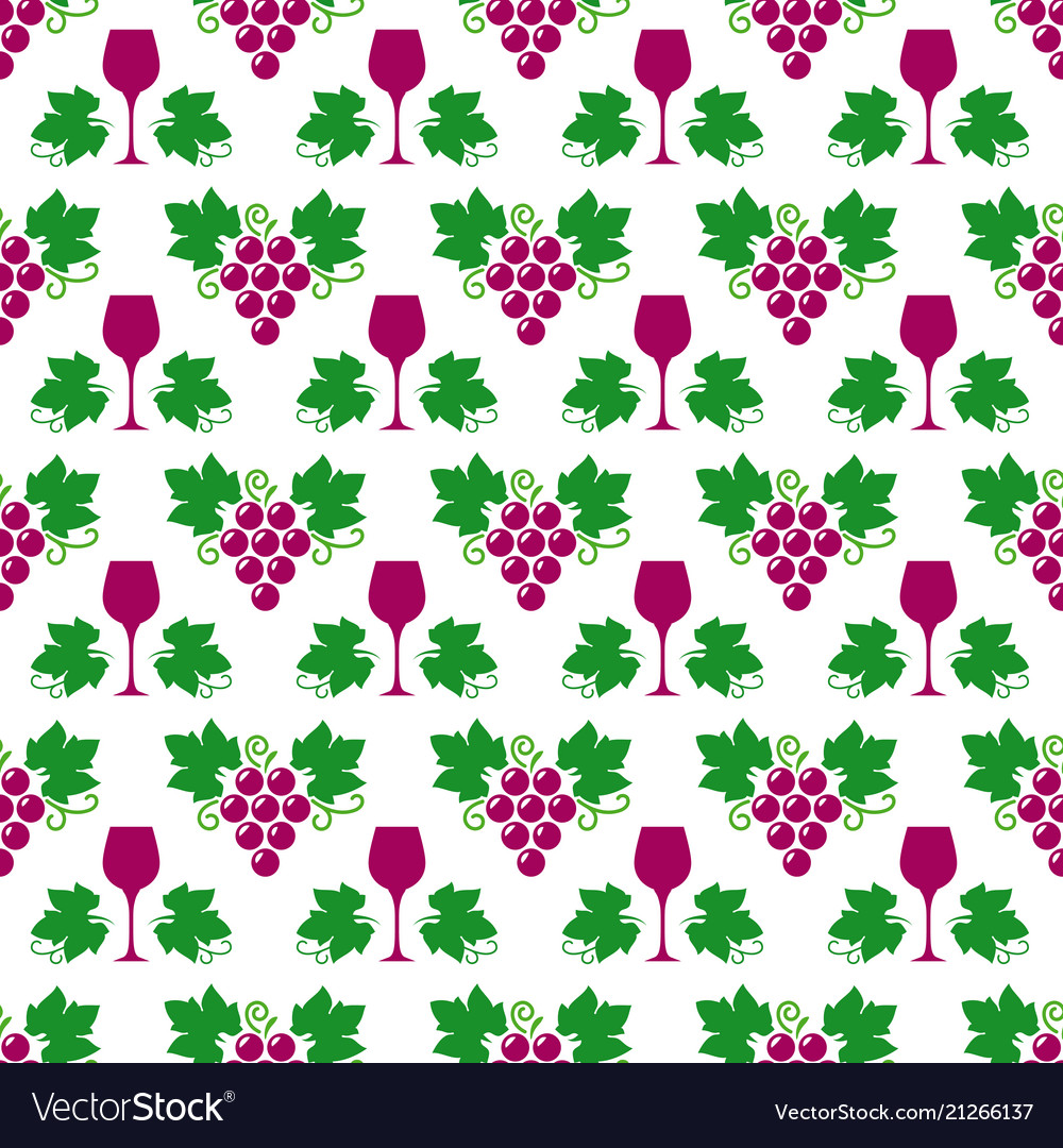 Grapes leaves and wine glass pattern
