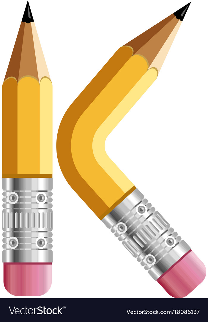 Letter K Pencil Icon Cartoon Style Royalty Free Vector Image