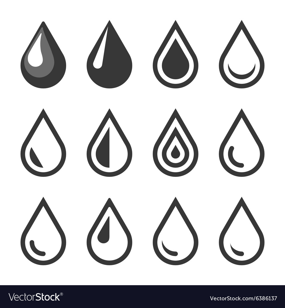 Oil Or Water Drop Emblem Logo Template Icon Set