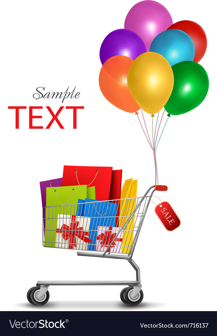 Sale shopping bags vector image