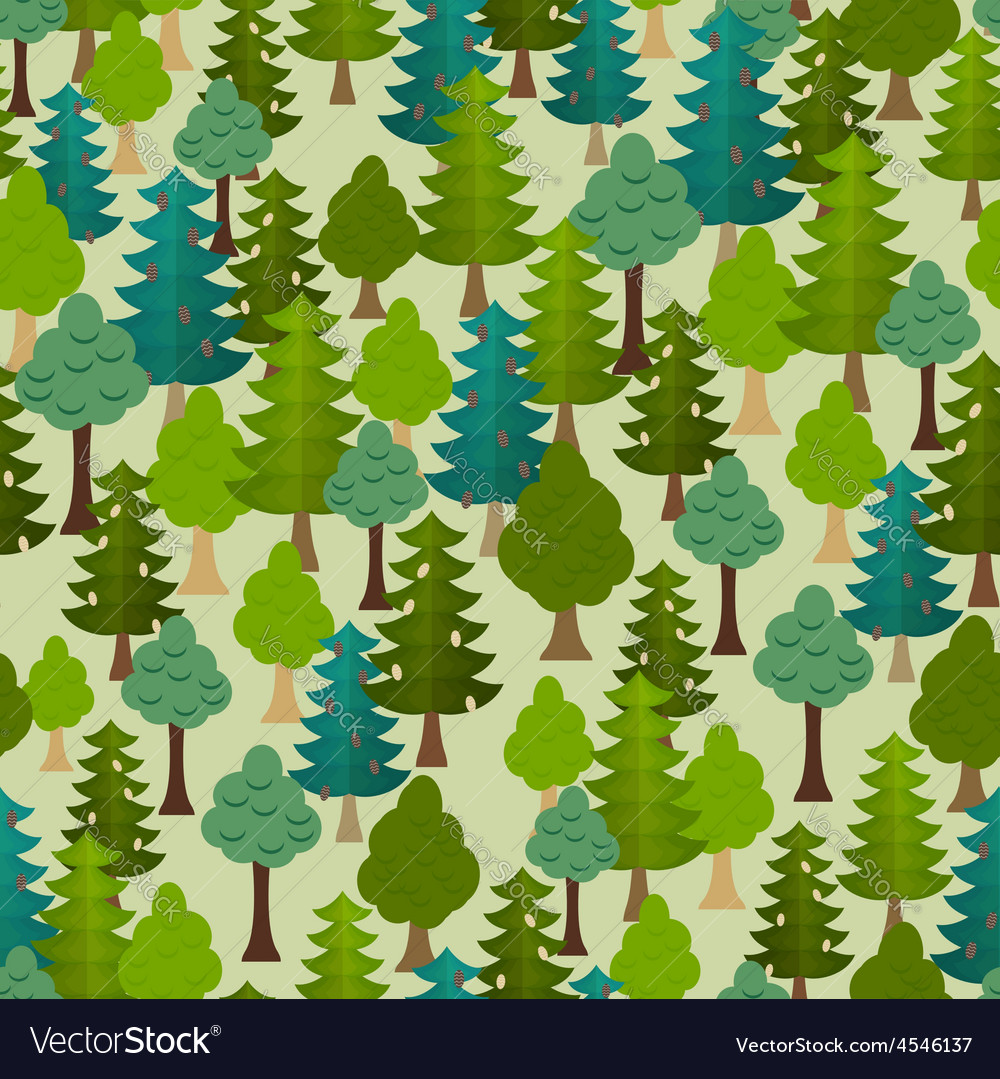 Seamless forest pattern Cartoon tree vector image