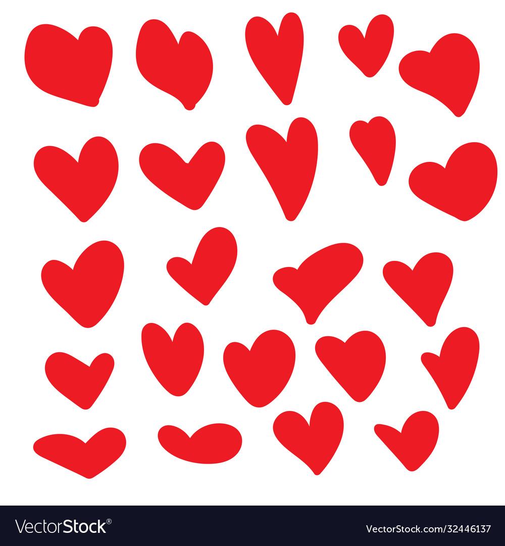 Set hand drawn hearts