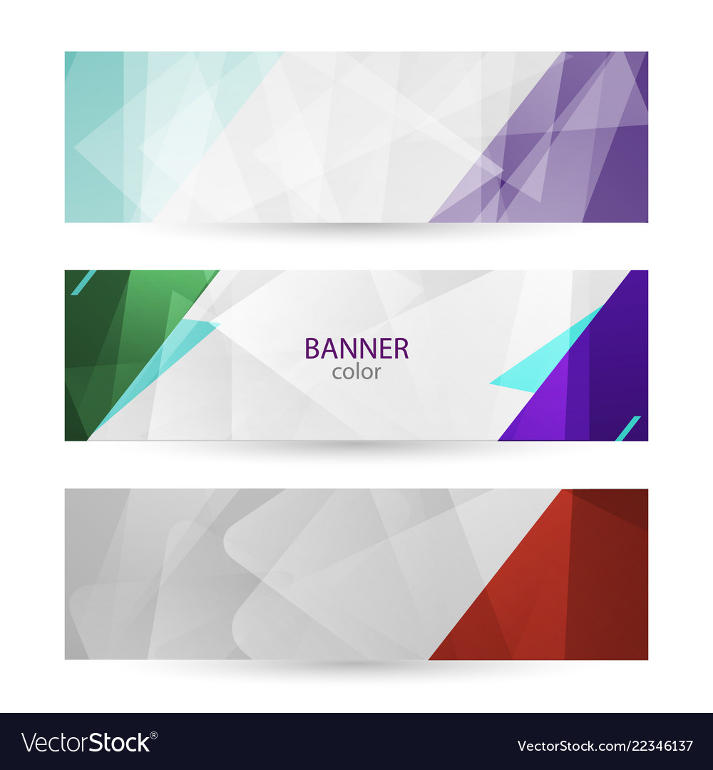 Set horizontal bright banners with empty place