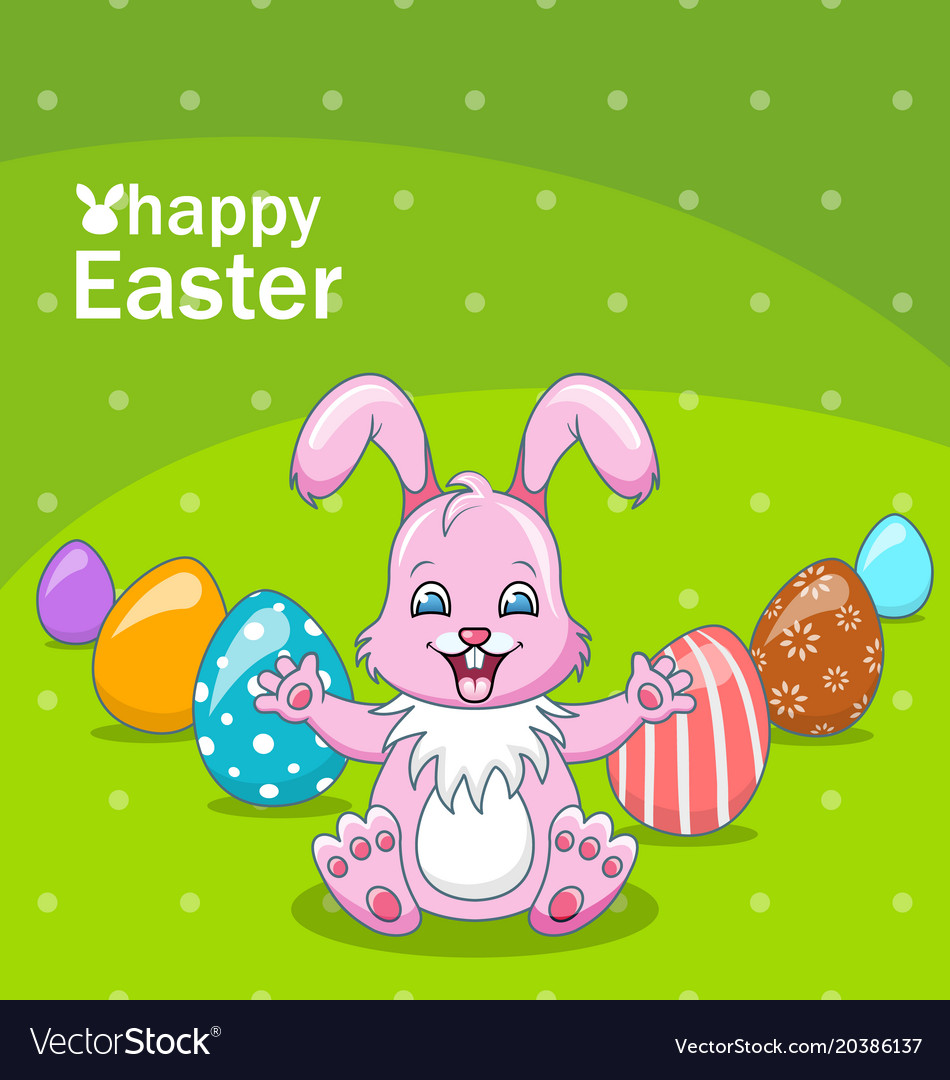 Smiling rabbit cartoon girl with eggs beautiful