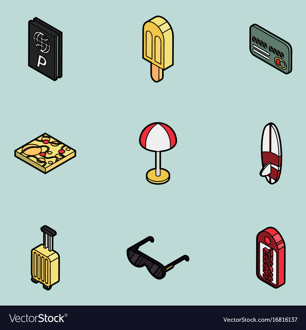 Tourism color outline isometric icons