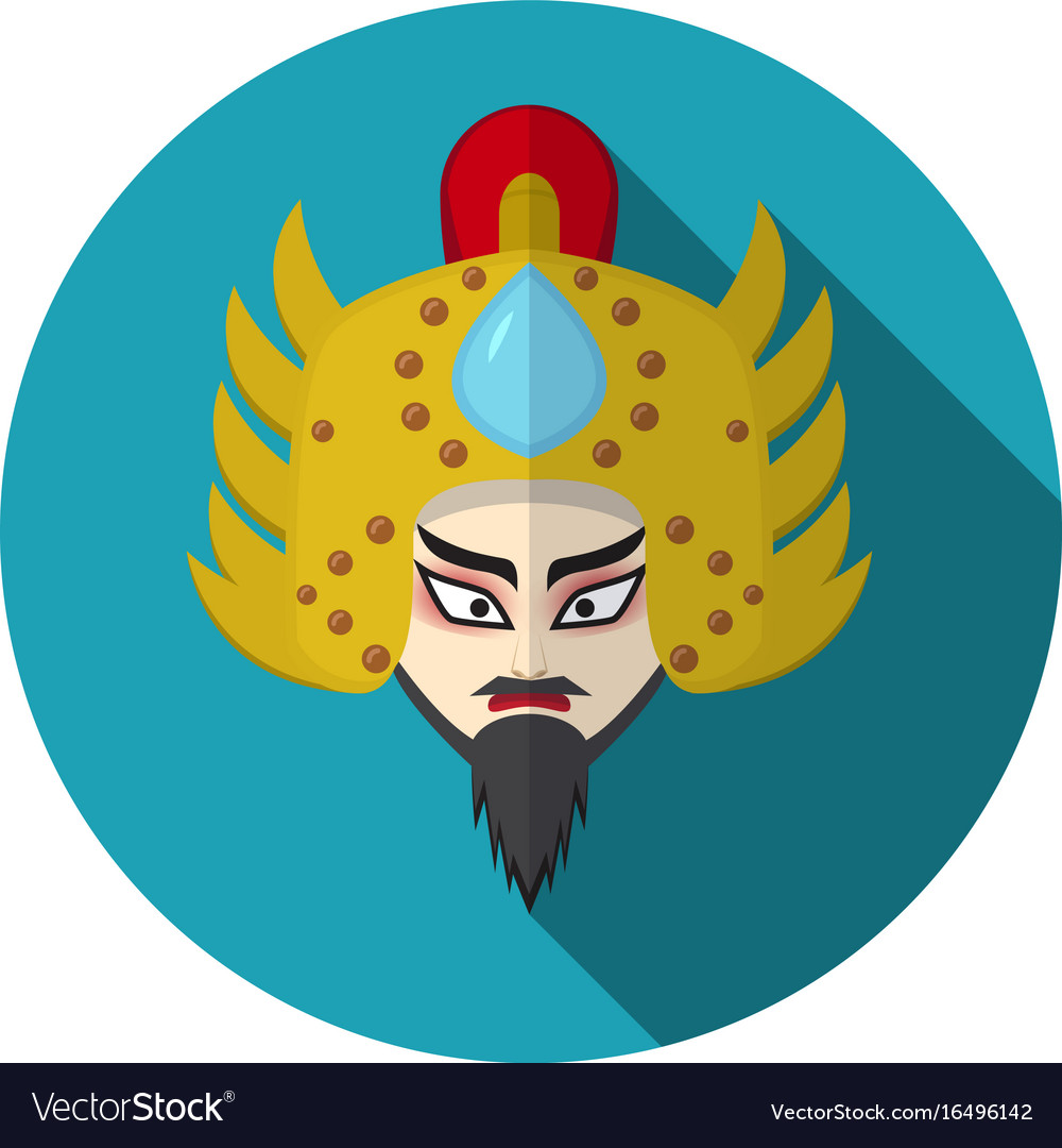 Chinese Opera Icon Warrior And Knight Symbol Vector Image
