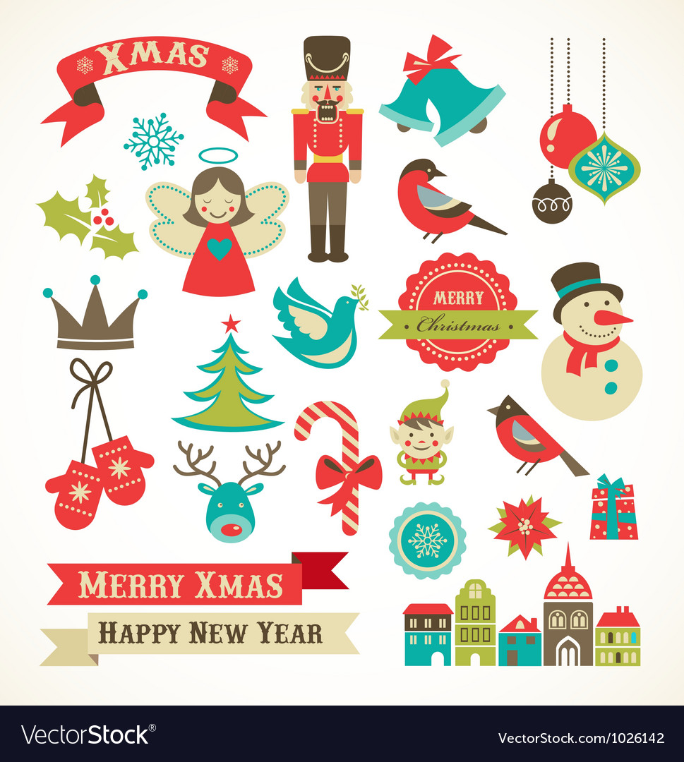 Christmas retro icons elements and
