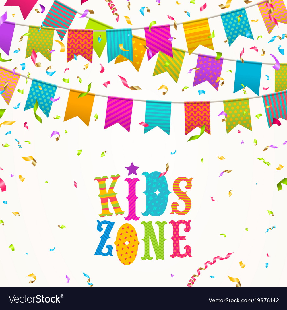 Colorful festive flags garlands and kids zone logo