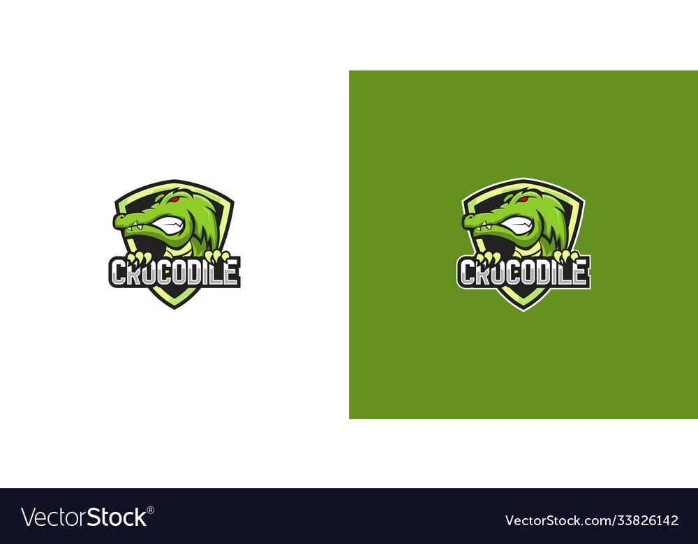 Crocodile shield logo design