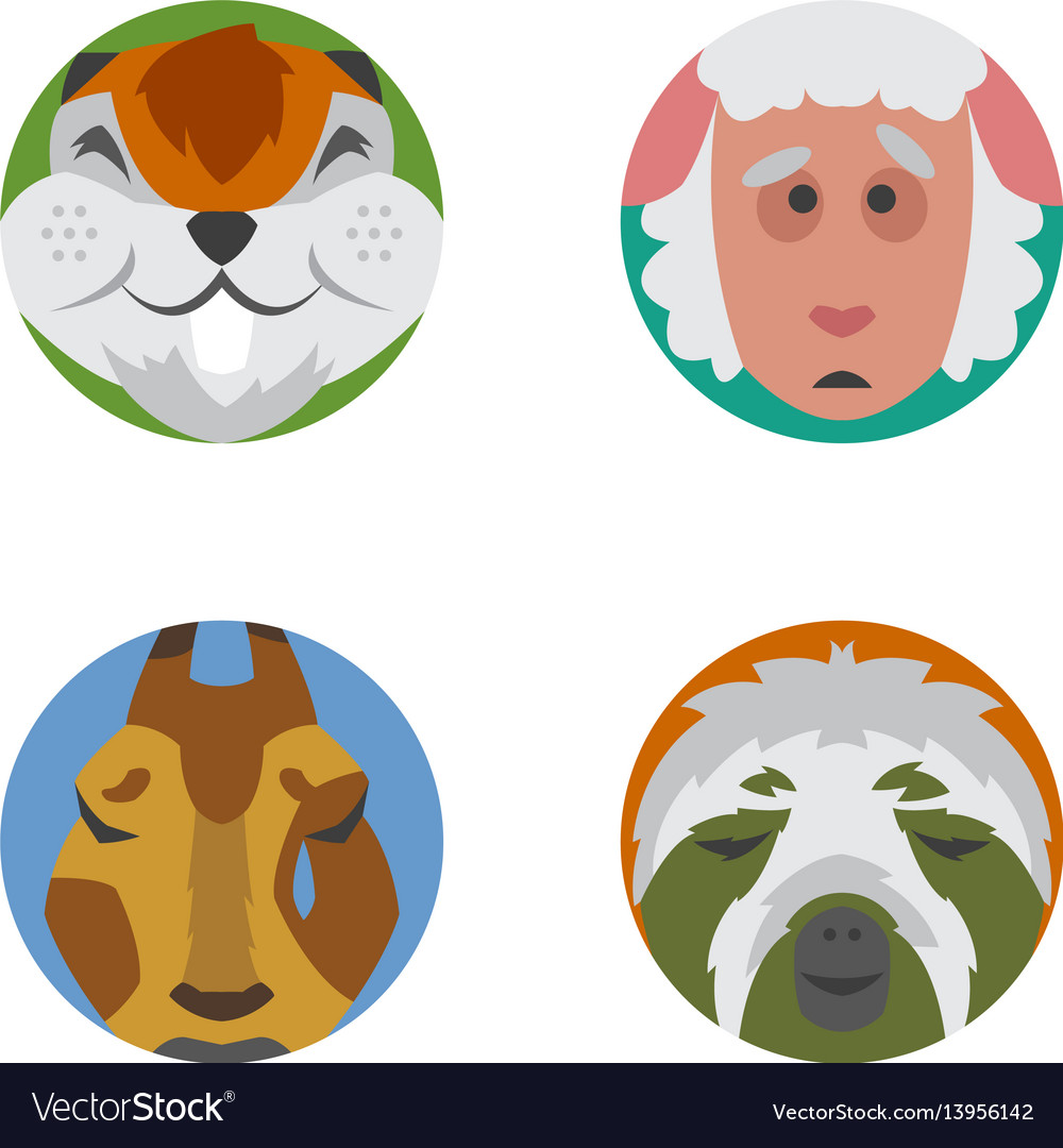 Cute animals emotions icons isolated fun set face